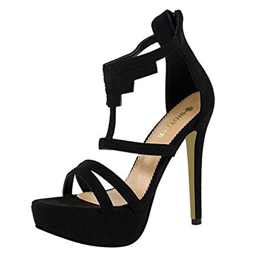 Oasap Women's Solid Open Toe Stiletto Gladiator Sandals Black