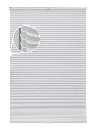 Beyond Drape Wabenplissee Weiß Verschiedene Gößen Fertigplissee verspannt für Fenster ohne Bohren Blickdicht mit Klemmträger Sonnenschutzrollo Fensterrollo Klemmfix Plissee Rollo Jalousie 80x130 cm