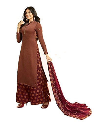 Salwar Suit Semi-Stitched, Pure Georgette Satin Silk Fabric Plazzo Style Party Wear...
