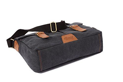LOBTY Umhangetasche herren Damen Herren Canvas Leinwand Rucksack Umhängetasche Messenger Bag Schultertasche Tasche Schwarz