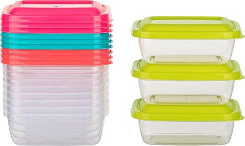 Kigima Mini-Tiefkühldose Frischhaltedose 310ml rechteckig 12er Set bunt