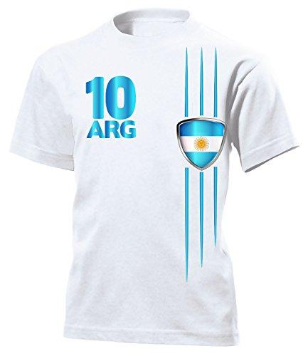 Argentinien Fan Streifen 3305 Fussball Kinder Kids Jungen Mädchen Unisex Fanshirt Shirt Tshirt Fanartikel Artikel T-Shirts Weiss 116