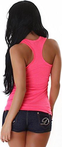 Jela London Damen Basic Longtop Tank-Top Stretch einfarbig ärmelloses Shirt Racerback (Einheitsgröße 32 34 36) Leuchtendes Pink