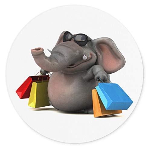 Merchandise for Fans 3D-Elefant mit Sonnenbrille und Einkaufstüten kommt vom Shopping, Mauspad rund aus Textil 20cm, Rutschfester Kautschukrücken, für alle Maustypen