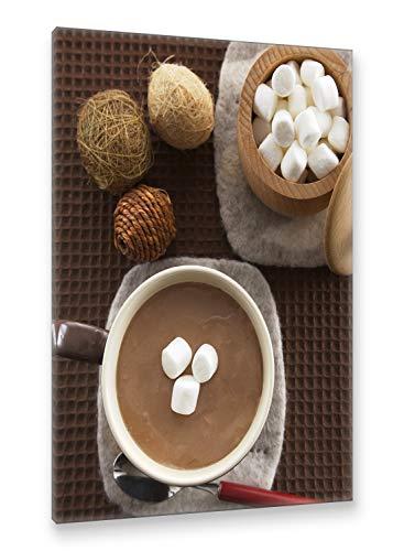 Postereck - Premium Leinwand - 2641 - Heisse Schokolade, Kakao Marshmallow Getränk Küche - Größe 35,0 cm x 25,0 cm -