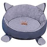 ZhuikunA Sommer Winter Runde Welpen Kätzchen Luxus Haustier Bett Korb Nest Kissen Haustierbett Grau L