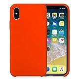 """Coque iPhone X 5.8"""" XS Max 6.5"""" Silicone Souple TPU Ultra-Fine Anti-Rayures Anti-Dérapant Bumper Etui Rubber Couleurs de Bonbon Coques pour Apple iPhone XS 5.8"""" (iPhone X, Rouge Orange)"""