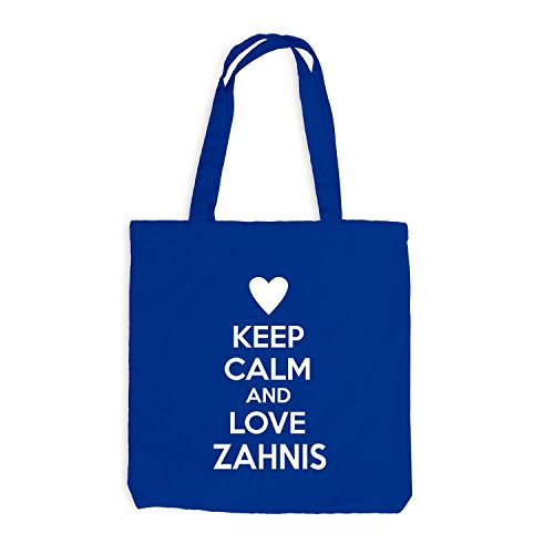 Jutebeutel - Keep Calm And Love Zahnis - Zahnarzt Design Heart Royalblau