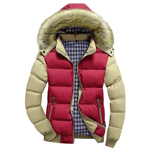 Leeafly Herren Warme Winterjacke Mäntel, Männer Jungen Beiläufige Warme Kapuze Winter Reißverschluss Mantel Outwear Jacke Top Bluse, Materialqualität Freizeit Style Mäntel(XXXXL,rot) -