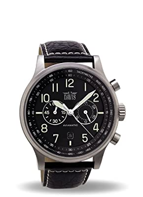 Davis 1020 - Reloj Hombre Aviador 42mm - Cronógrafo Sumergible 50M - Correa de Piel Negro con pespunte de Davis