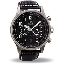 Davis 1020 - Reloj Hombre Aviador 42mm - Cronógrafo Sumergible 50M - Correa de Piel Negro con pespunte