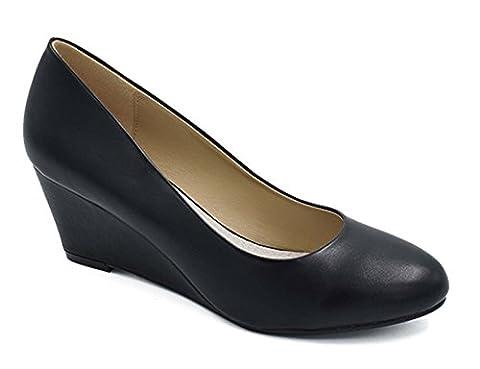 Greatonu Women's Formal Office Wedge Platform Mid Heel Dress Court Shoes ( EU 38 Black)