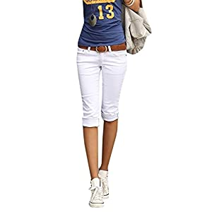 Ybenlover Damen Skinny Jeans Hose Caprihose Slim Fit Denim Leichte Sommerhose