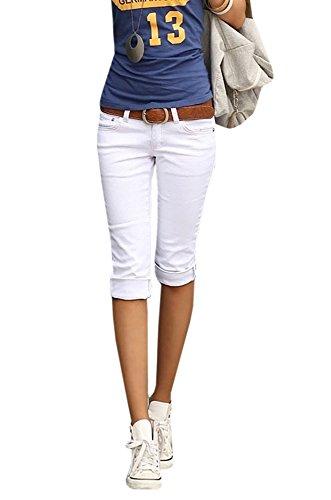 Ybenlover Damen Skinny Jeans Hose Caprihose Slim Fit Denim Leichte Sommerhose - Weiße Stretch-capris