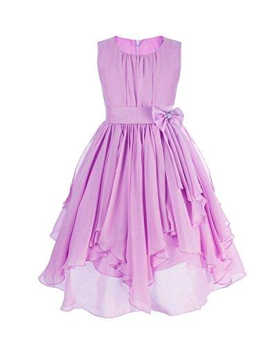 Kostüm Brautjungfer - YiZYiF Kinder Mädchen Kleid Pinzessin Kostüm Blumenmädchen Kleider Festlich Party Hochzeit Festzug- Gr. 140/10 Jahre, Lila
