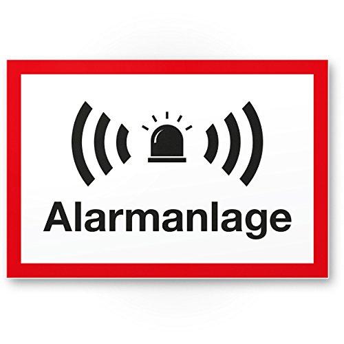 Alarmanlage Kunststoff Schild (weiß-rot 30 x 20 cm) - Achtung/Vorsicht Alarmgesichert - Hinweis/Hinweisschild Alarm - Haus/Gebäude/Objekt