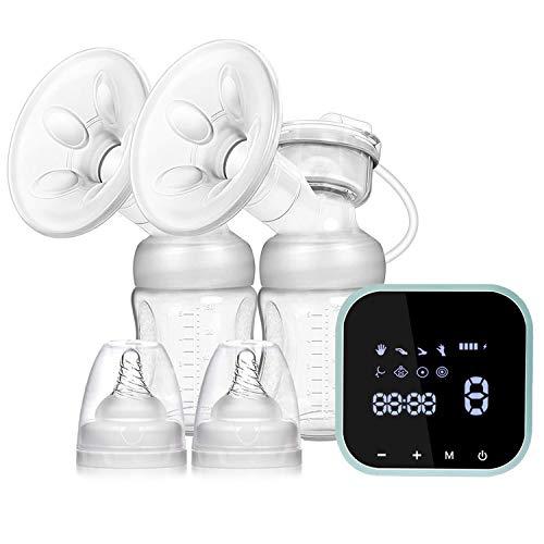 SUMGOTT Elektrische Milchpumpe, Wiederaufladbare Doppel-Stillpumpe, Elektrische Brustpumpe für Brustmilchabsaugung und Brustmassage (Milchpumpe7)