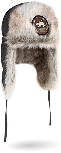 normani Unisex Wintermütze Winterkappe Arctic Ursa aus Synthetik-Pelz mit Ohren- und Nackenwärmer Farbe Anthrazit Größe M/57