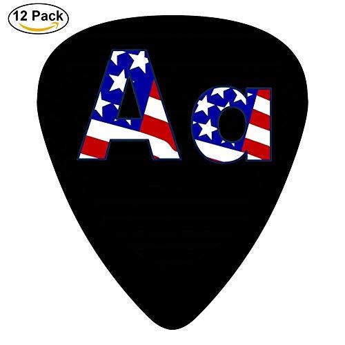 Celluloid Guitar Picks For Mandolin Guitar,Print Letter A Flag 12 Pack