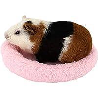 YuamMei 1pc Suave y cómodo Forro Polar Redondo cálido Hamster Cama Dormir Alfombrilla para Rata, Erizo, Ardilla,Cobaya, Animales Pequeños (L, rosa)