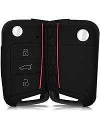 kwmobile Housse en silicone pour VW Golf 7 MK7 3-Bouton clef de voiture housse étui de protection clés Key Case Cover en noir