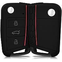 kwmobile Hülle für VW Golf 7 MK7 3-Tasten Autoschlüssel - Silikon Schlüssel Schutzhülle in Schwarz - Etui Schlüsselhülle Cover Auto Zündschlüssel