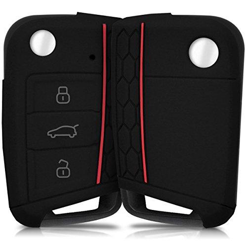 kwmobile Autoschlüssel Hülle für VW Golf 7 MK7 - Silikon Schutzhülle Schlüsselhülle Cover für VW Golf 7 MK7 3-Tasten Autoschlüssel Schwarz