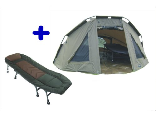 MK-Angelsport 5 Seasons 2 Mann Zelt Kaprfenzelt Bivvy Dome plus Liege incl. Gummihammer