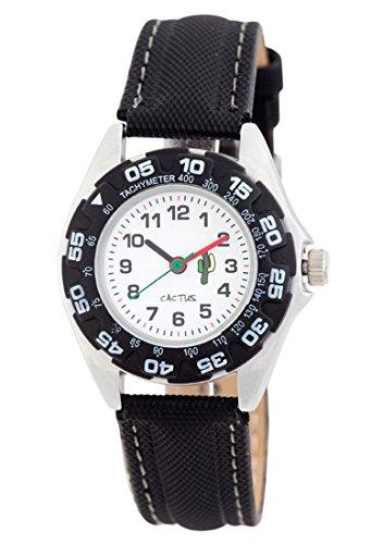 Cactus Kinder Quarz-Uhr mit weißem Zifferblatt Analog-Anzeige und schwarz Kunststoff oder PU Gurt cac-57-m01