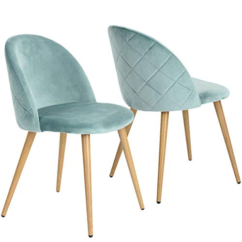 coavas Esszimmerstuhl Samt Weich Kissen Sitz und Rücken Mit Hölzernen Metallbeinen Küche Stühle für ESS - und Wohnzimmer Stühle Set von 2, Hellgrün