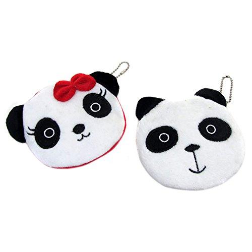 Vikenner Mini Panda Geldbeutel Kleine Handtasche Münze mit Plüsch Bow Cartoon Geldbörse für Damen und Mädchen (Bow Damen-geldbörse)