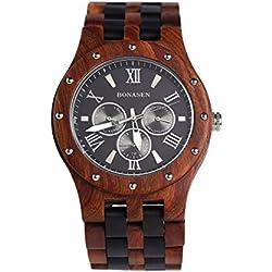 BS ® Handgefertigte Leichte Wooden Watch Day Datum Kalender Funktion Quarzwerk Made mit Luxus Natural Sandelholz BNS-260B