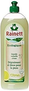 Rainett  Liquide Vaisselle Ecologique au Citron Peaux Sensibles Ecolabel  750 ml  Lot de 4