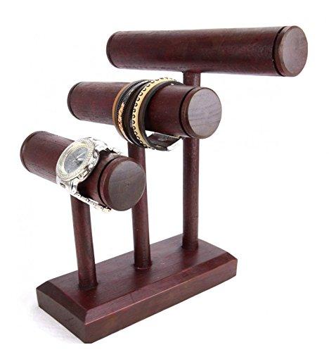 Verkaufsverpackung Hat Armbänder und Uhren 3Armbandhalter aus Holz massiv Farbton rot (Drei Hände Home Decor)