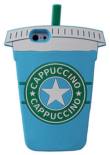 Cappuccino tasse de forme 3D en caoutchouc souple en silicone nouveau cas couvrir pour Apple iPhone SE (noir) © Sloth Cases Blue