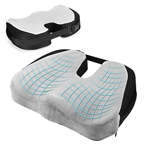Feagar cuscino per sedile ortopedico, cuscino sedia memory foam per auto sedia a rotelle sedia ufficio poltrona, ergonomico cuscini seduta per postura coccige sciatica sollievo dolore alla schiena