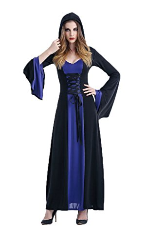 Honeystore Damen's Kostüm Halloween Fasching Karneval Hexe Vampir Lady Mittelalter Zauberin Kleid Mit Kapuze Blau (Kleinkind Swat Kostüme)