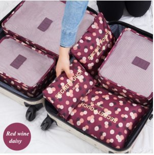 Styleys 6pcs/1set Travel Storage Bag Storage Clothes Bag Luggage Case Bag Suitcase Underwear Organizer Make Up Organizer Bag 6 PCS Summer Style Travel Storage Bag Set For Clothes Tidy Organizer Pouch Suitcase Handbag Home Closet Divider Drawer Organizer families Travel Clothes Underwear Socks Storage Bags Packing Cube Luggage Bag Organizer For six sizes Points bagging sets Women Men Travel Storage Bag Waterproof High Capacity Luggage Clothes Tidy Pouch Portable Organizer Case Floral Red Wine