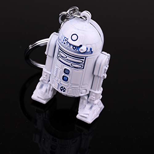 Wars Series Robot Keychain Pendant Blue White Zinc Alloy Key Rings Men's Gift Jewelry Accessories ()