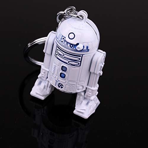 gfjfd Hot Movie Star Wars Series Robot Keychain Pendant Blue White Zinc Alloy Key Rings Men's Gift Jewelry Accessories