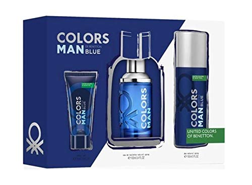 BENETTON COLORS BLUE MEN EDT 100ML VAPORIZADOR+DEO150ML+GEL 75ML SET REGALO