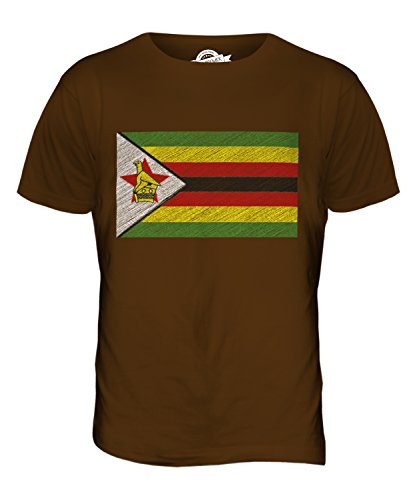 CandyMix Simbabwe Kritzelte Flagge Herren T Shirt Braun