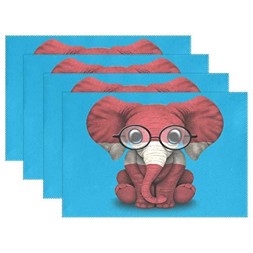 Promini Hitzebeständige Tischsets, lettische Flagge, Baby Elefant mit Brille, waschbar, Polyester, Rutschfest, waschbar, Platzsets für Küche und Esszimmer, 4 Stück