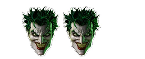 Evil smiling Villain Schurke Gruselig Monster Maske Twoface Vigilante Aufkleber Sticker + Gratis Schlüsselringanhänger aus Kokosnuss-Schale + Auto Motorrad Bike Helm Laptop Windows Racing Dub Tuning (Weißen Gruseligen Maske)