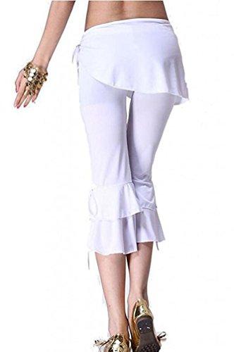 YuanDian Donna Estate Colore Solido Danza Del Ventre Orientale Pantaloni Costumi Slim Fit Bassa Vita Araba Belly Dance Tribal Capri Pantaloni Danza Abbigliamento Bianco
