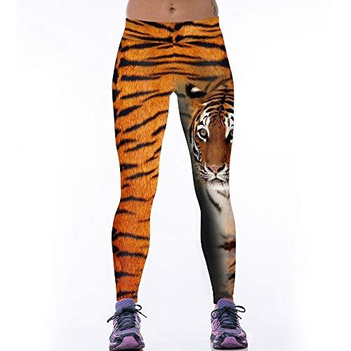 Tiger-print-rock (PFJWFE Frauen Sport Leggings Lady Punk Rock Gestreckt 3D Tiger Print Leggins Fitness Hosen Tragen Bodybuilding Bleistift Hose)