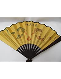 Quality Wood & Silk traditional vintage chinese brown 23cm length Wedding Chinese Japanese Geisha costume dressing up ladies fan posted from London by Fat-catz