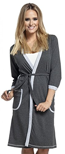 Happy Mama. Femme allaitement chemise nuit / peignoir VENDUE SÉPARÉMENT. 772p Robe de chambre - Graphite & Gris
