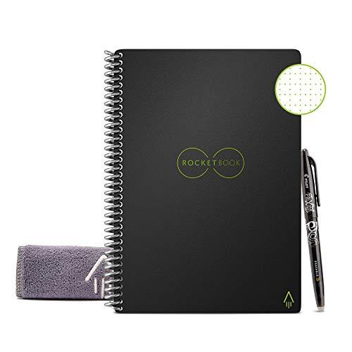 """Rocketbook Unbegrenzt Wiederverwendbares Notizbuch - Everlast Smart A5 \""""Executive\"""" - Schwarz, Kariert, Inklusive Pilot FriXion Stift und Mikrofasertuch"""