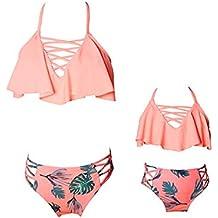 besbomig Madre e Hija Familia Traje de Baño Bikini Sets Monokini Familia Swimwear Ropa de la